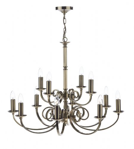 Dar Murray 12 Light Dual Mount Pendant Antique Brass MUR1275